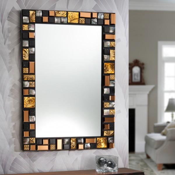 Espejo mosaic g dorado lamparas zaragoza iluminacion for Espejos decorativos dorados